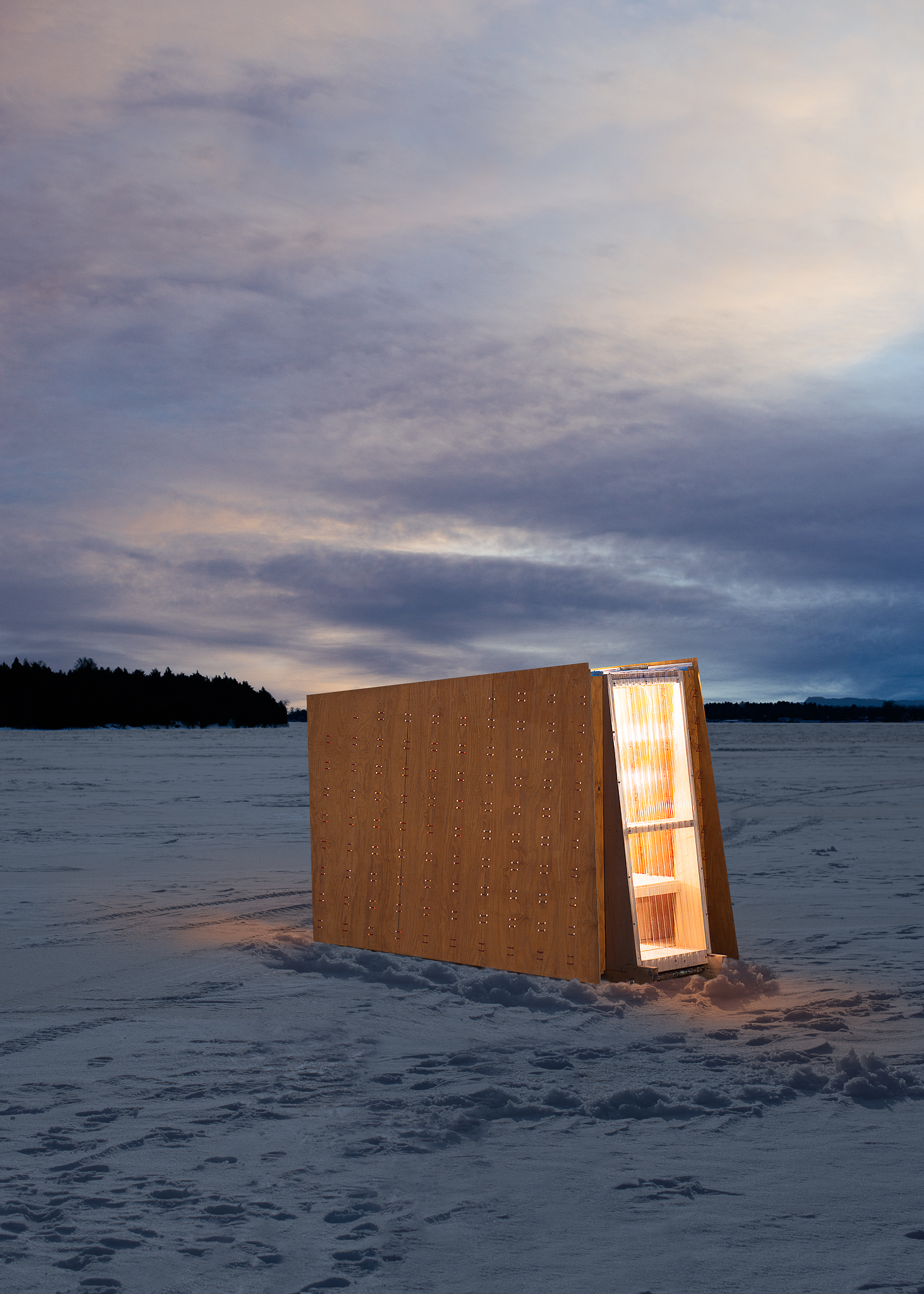 Same view of the Ice Ark, but as it would appear out on the lake at dusk.