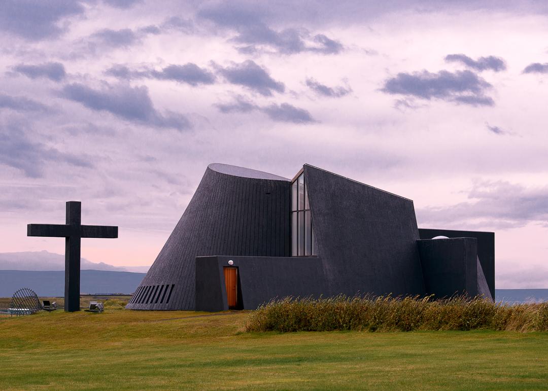 Blonduoskirja church designed by Dr. Maggi Jonsson to resemble an erupting volcano.