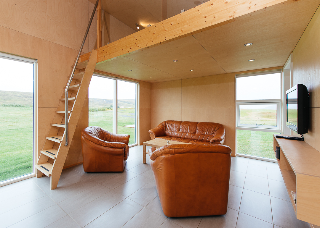 Living area of the Einishus Cottage. Simple, clean, and efficient.