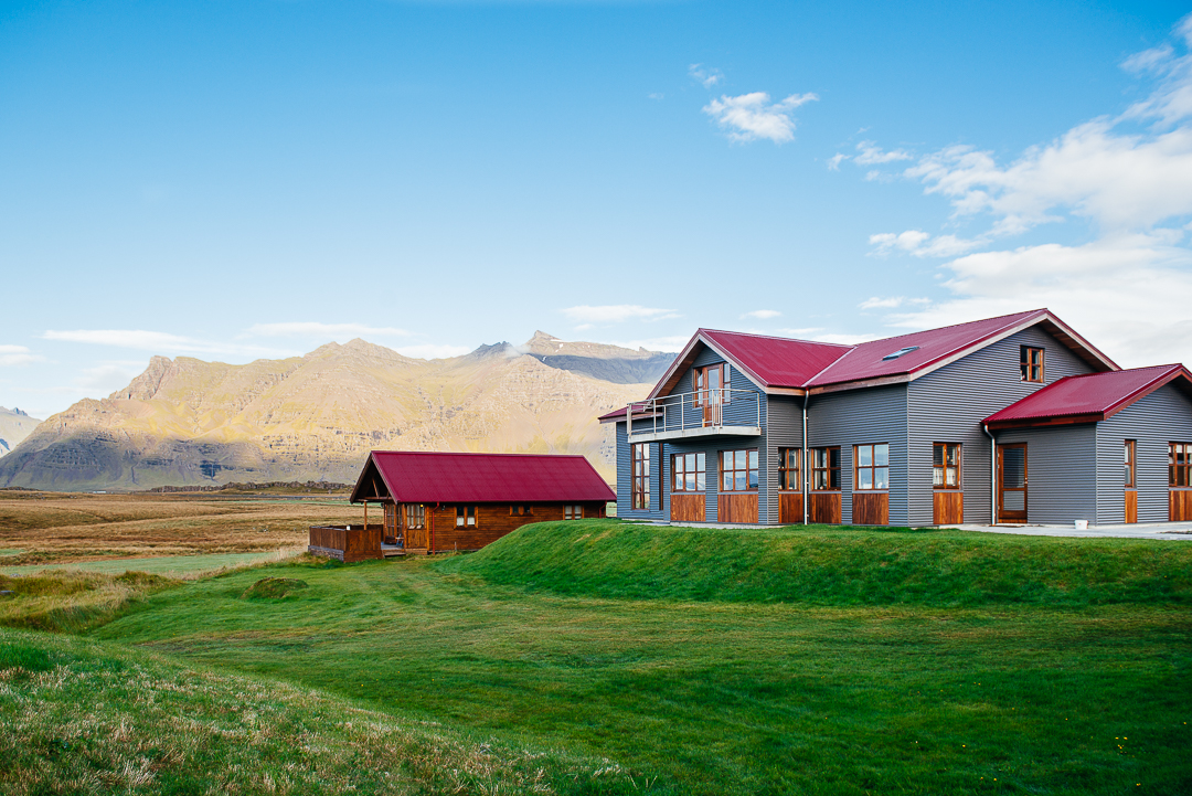 The owners of the the Hostel Vagnsstadir, live next door on this beautiful farmland bordering the ocean.