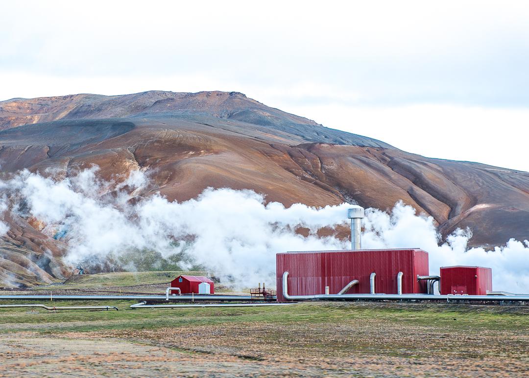 Krafla volcano geothermal plant.