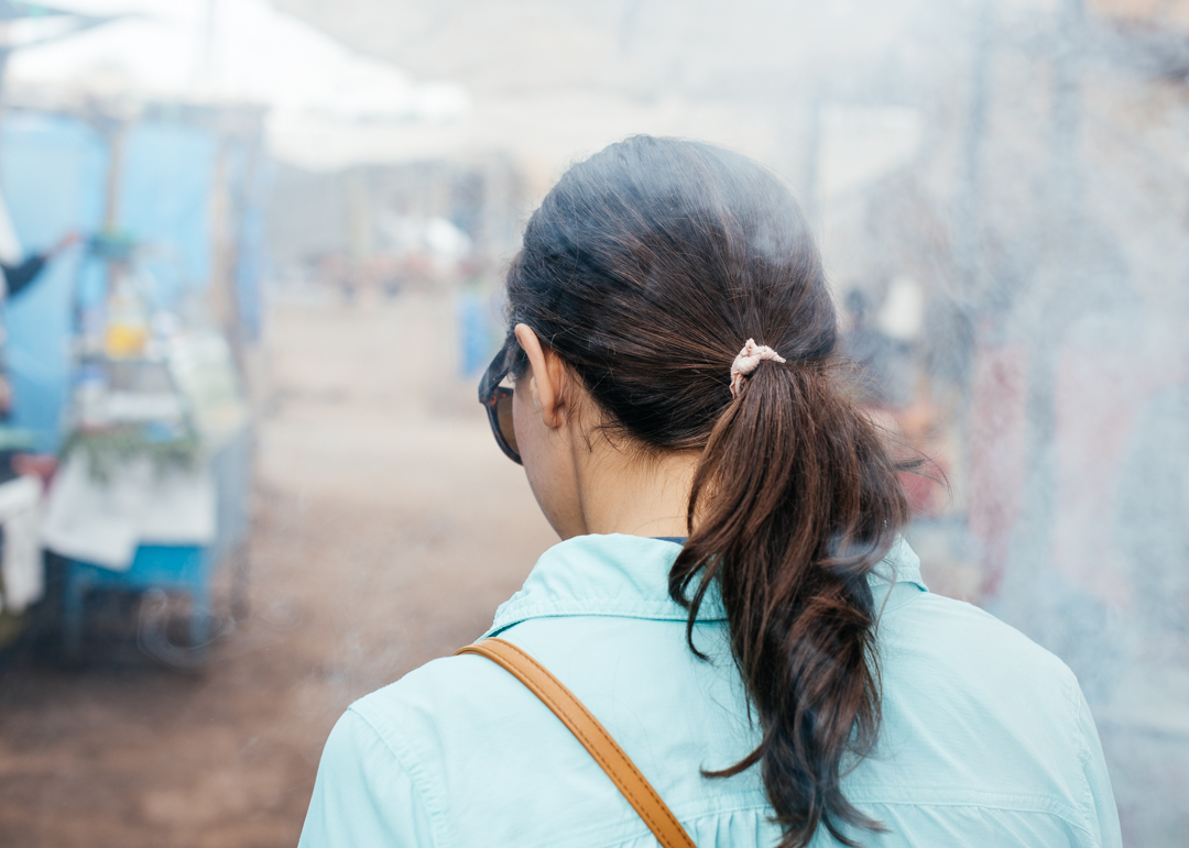 Smoke fills the air as food is prepped and sold at the Berber market.