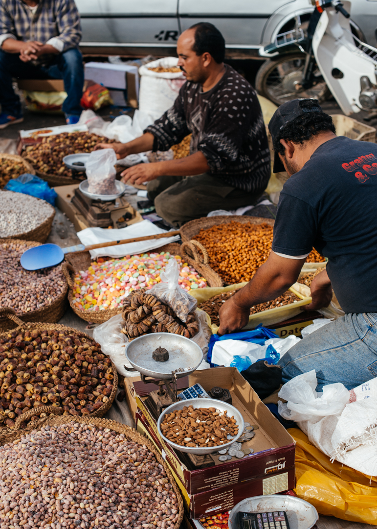 Fresh nuts weighed and sold.