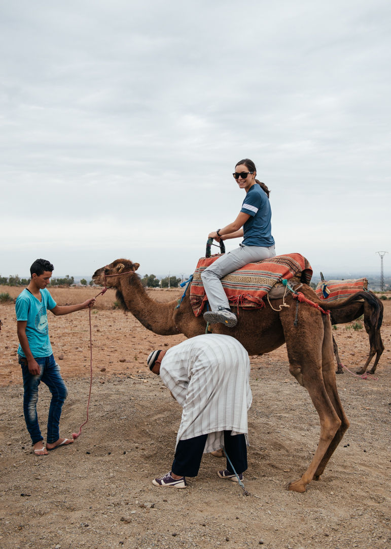 Chelsea getting set up on her camel.