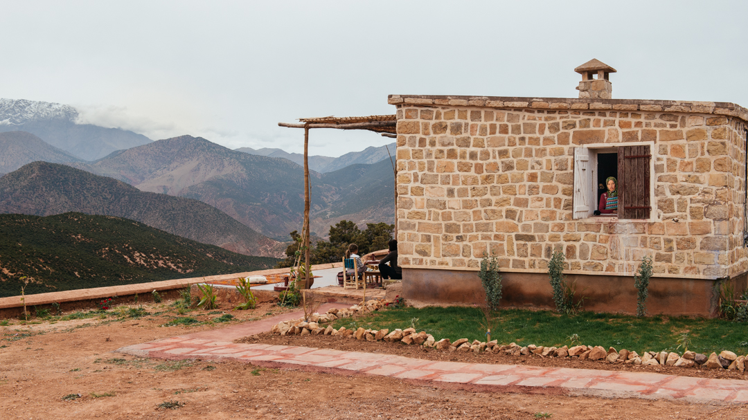 View of the Atlas Mountains and our cook.