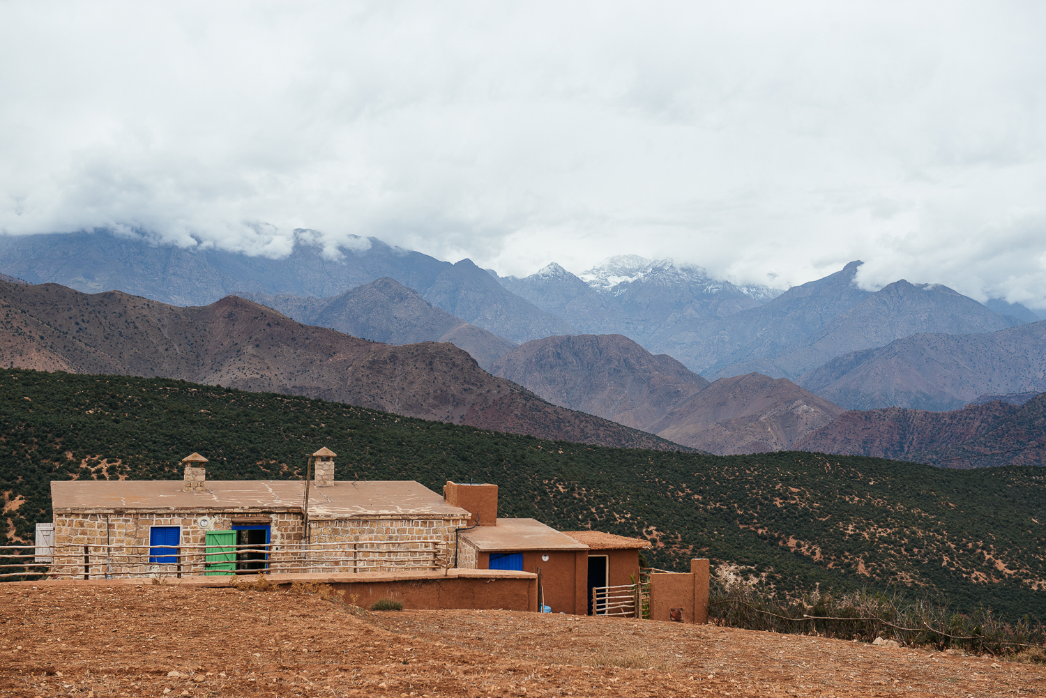 A view of the snow-capped Mount Toubkel from the home..