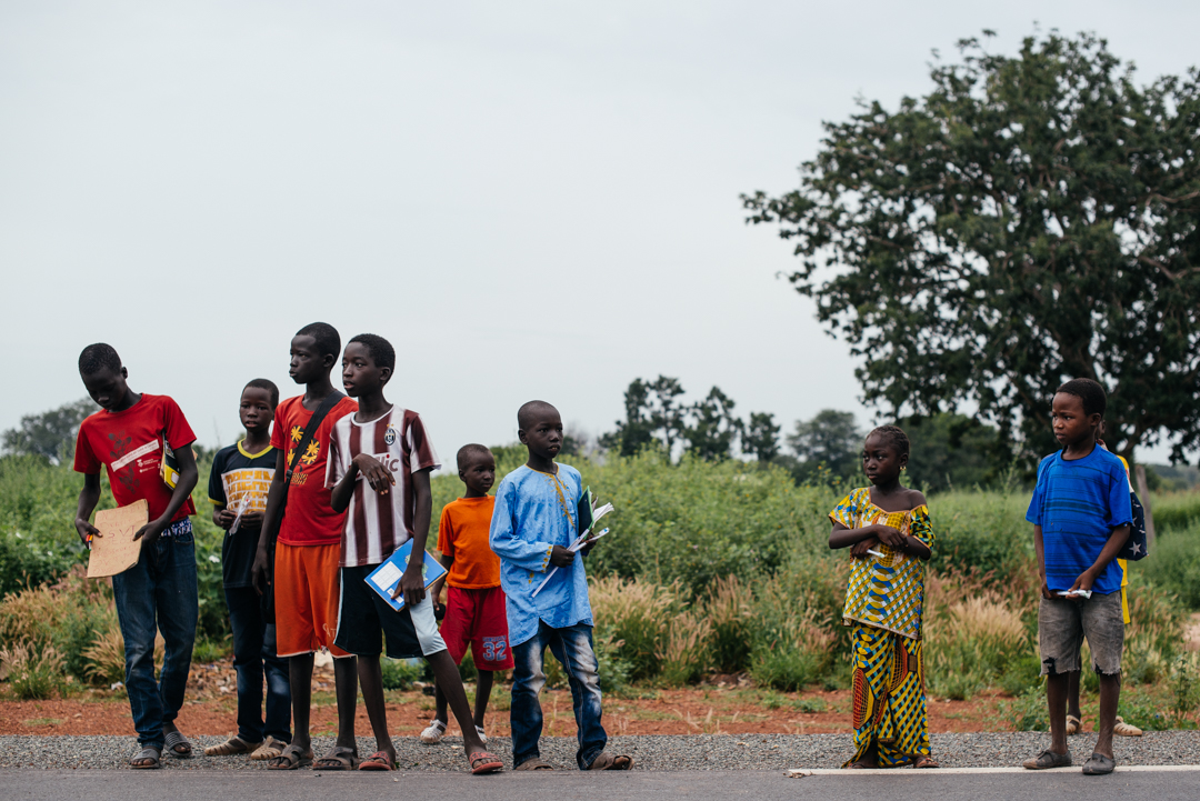 Children waiting to go to school.