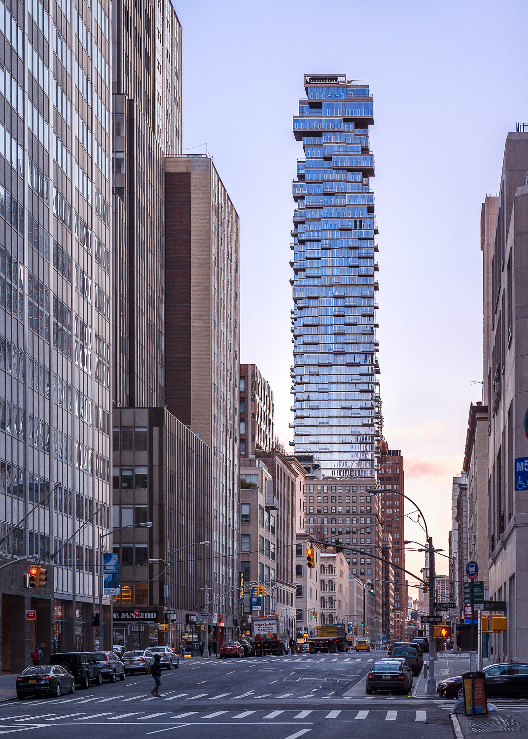 "Sunrise on ""Jenga Tower"" - architect - Herzog Demeuron. Opened in 2016 and due to its cantilevered balconies it has been described as ""houses stacked in the sky."""