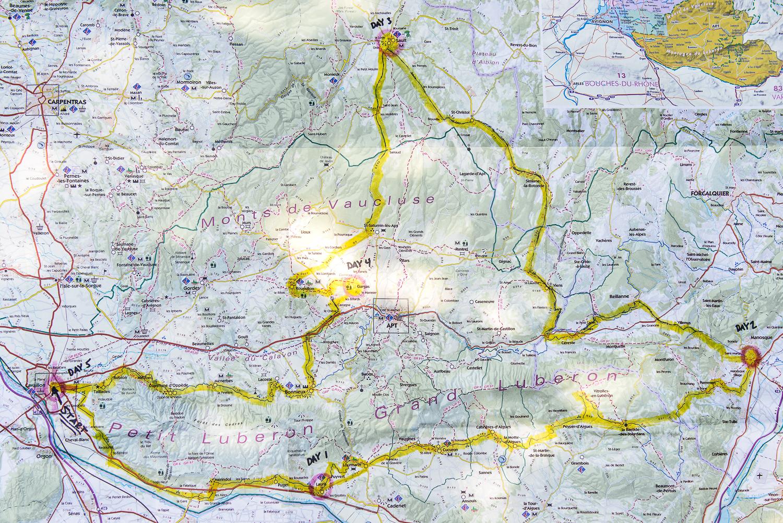 Our bike route through the Luberon region.