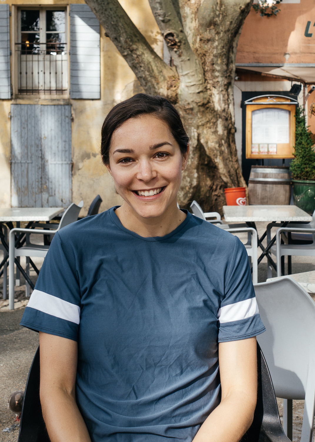 Chelsea at a cafe in Cucuron.