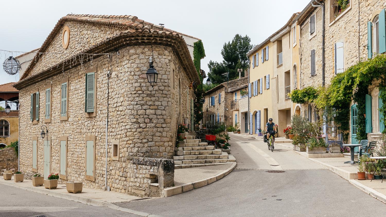 Biking through the village of Vitrolles-en Luberon.