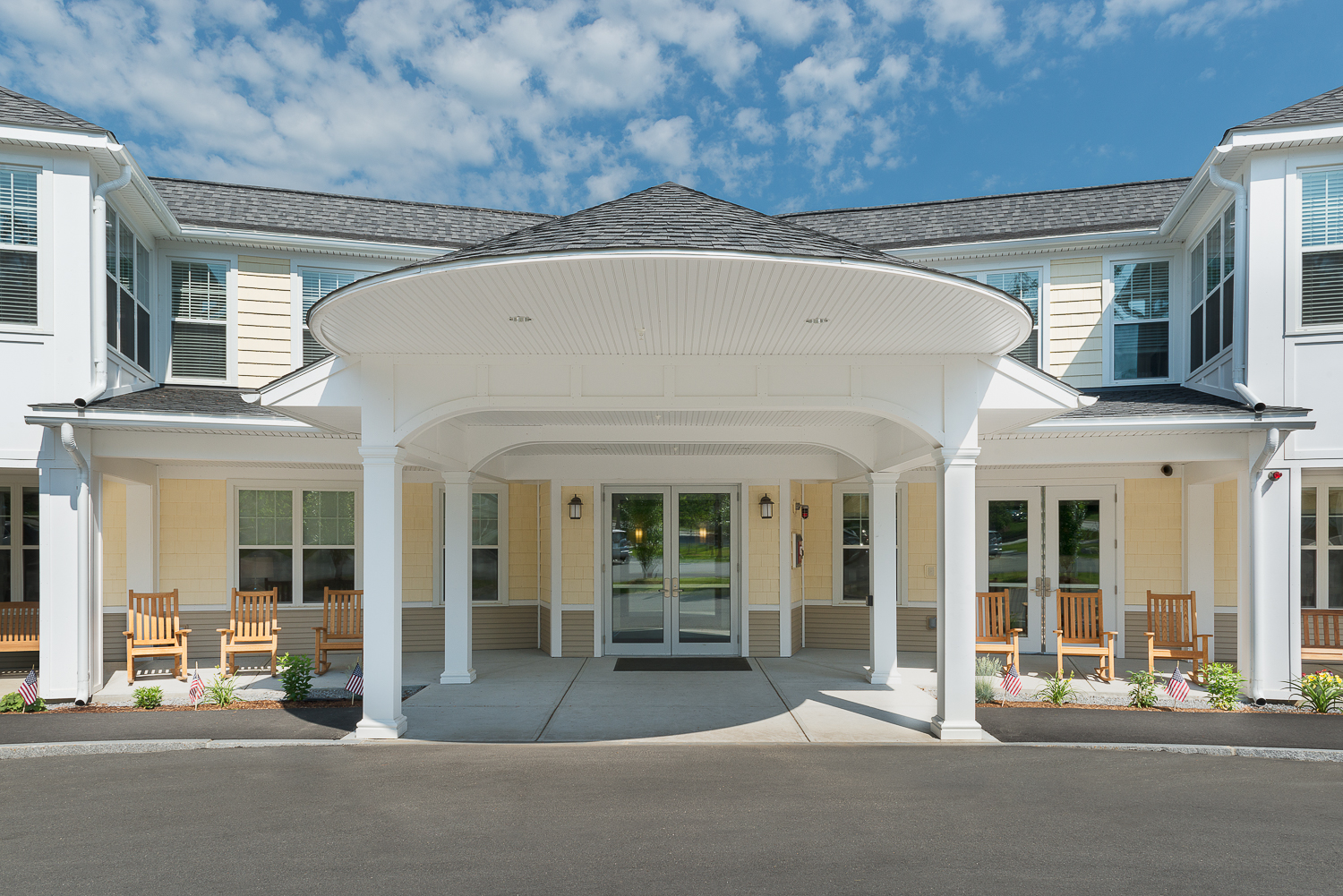Rounded awning of the front entrance.