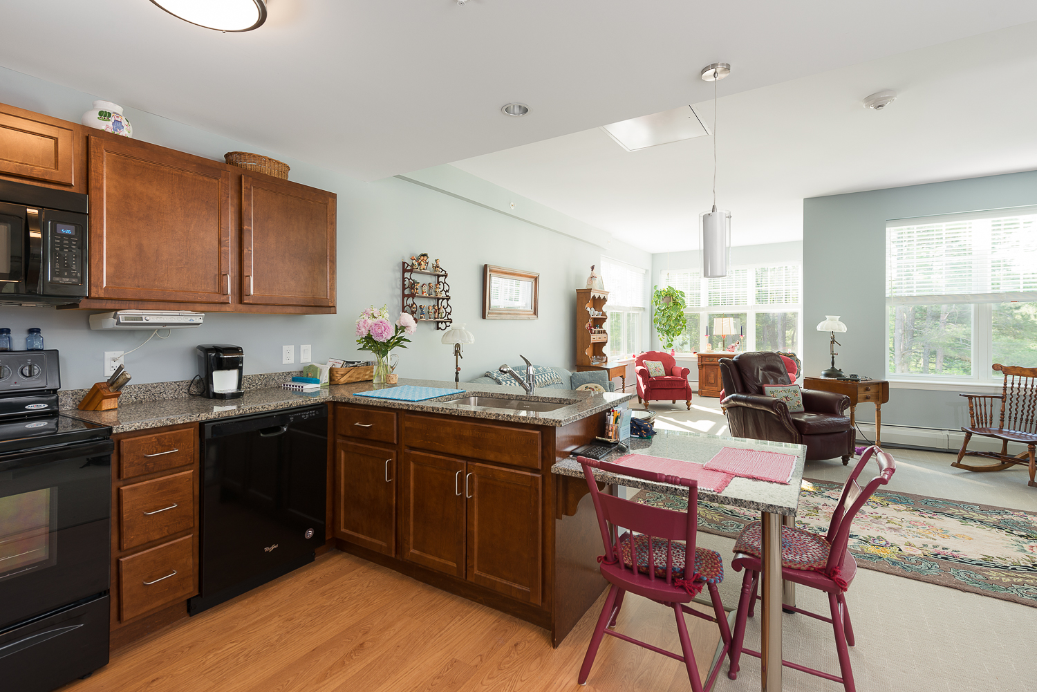 Independent living kitchen and living room.