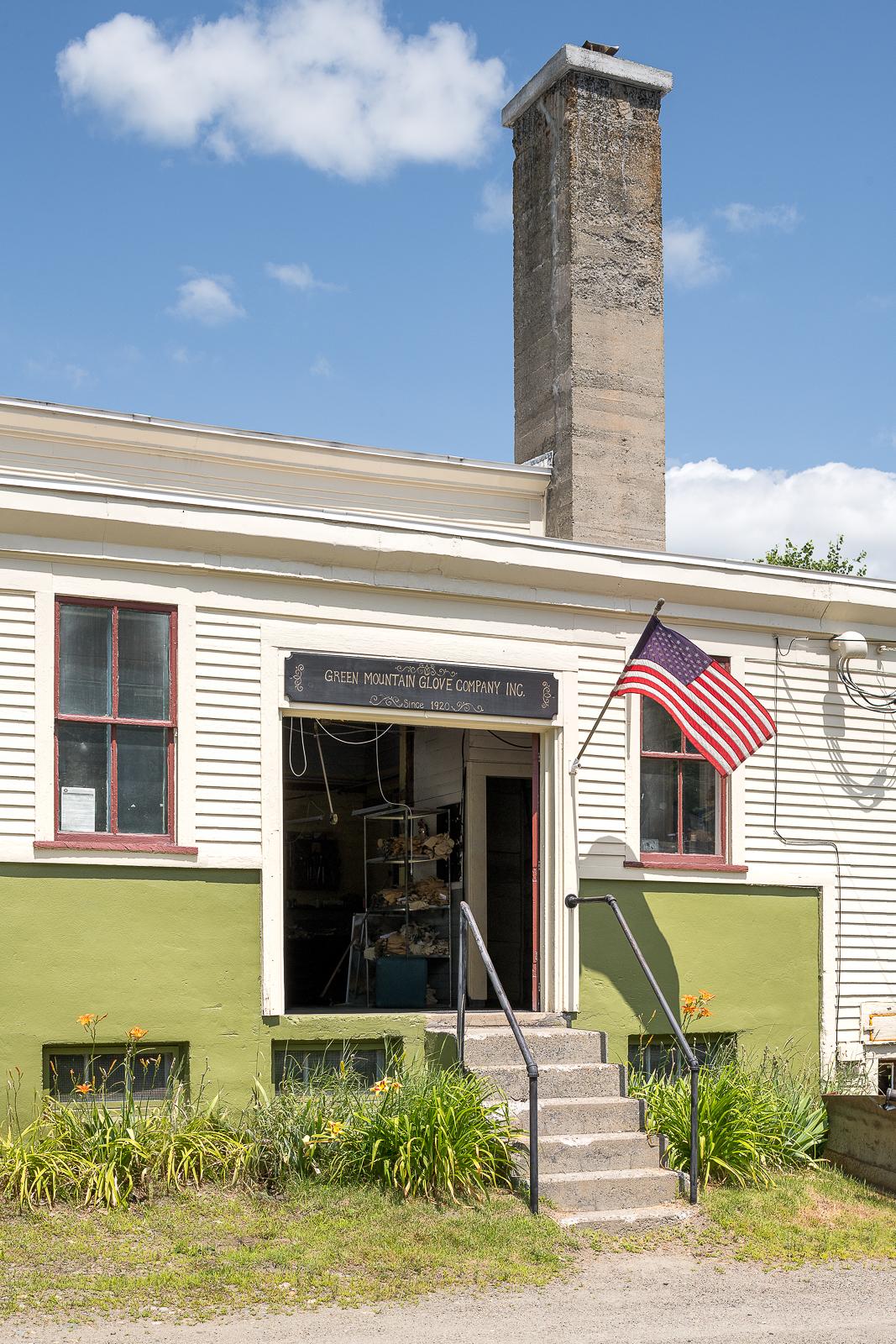 Front Entrance still bares the original Green Mountain Glove Company sign.