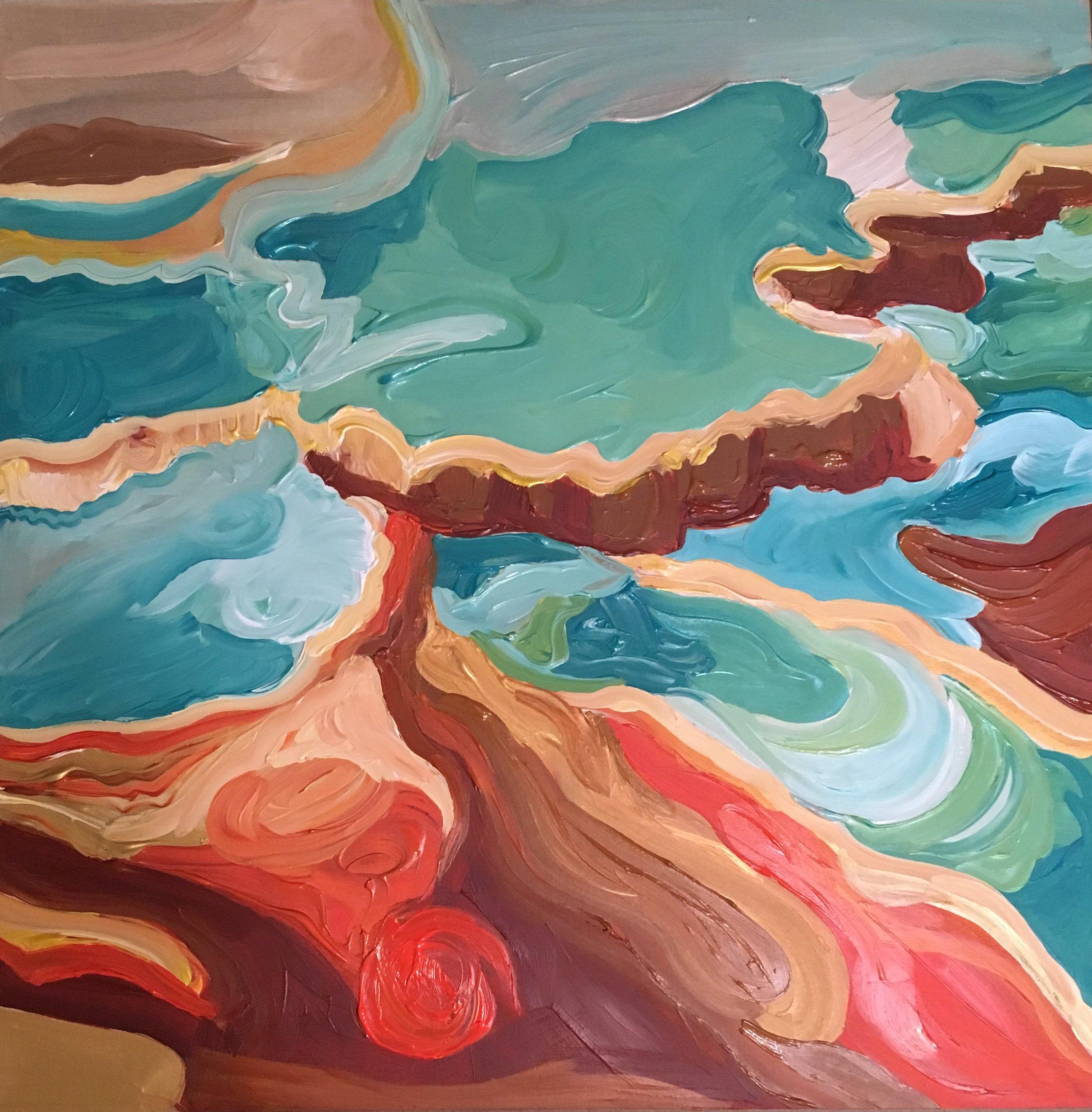 """Rendering of Ansel Adams: """"Jupiter Terrace — Fountain Geyser Peak"""""""
