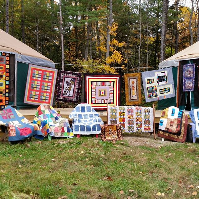 Getting ready for a quilt and prayer flag show in the yurts in November. Open first three Saturdays and Sundays. #quilts#prayerflags#new gloucester#yurts