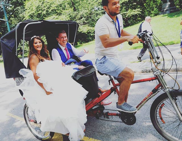 Congratulations Aarti and Alan! Their wedding day was not only the hottest day of the year, it was also my Birthday! If it's too hot to walk, take a pedicab! #pedicab #uk #weddingphotographer #wedding #weddingplannernyc #elopement #newyorkelopement #newyork #weddinginspo #newyorkdreamweddings #harleyhall #elopenyc #weddingphotography #blackandwhite #newyork #elope #creative #weddings #nywedding #harleyhallphotography #tourists #love #instawedding #centralpark #centralparkwedding