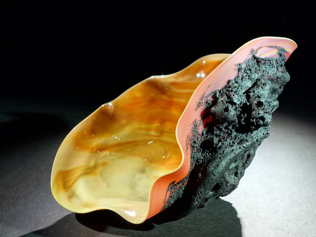 Orange Corona Tektite Sculpture