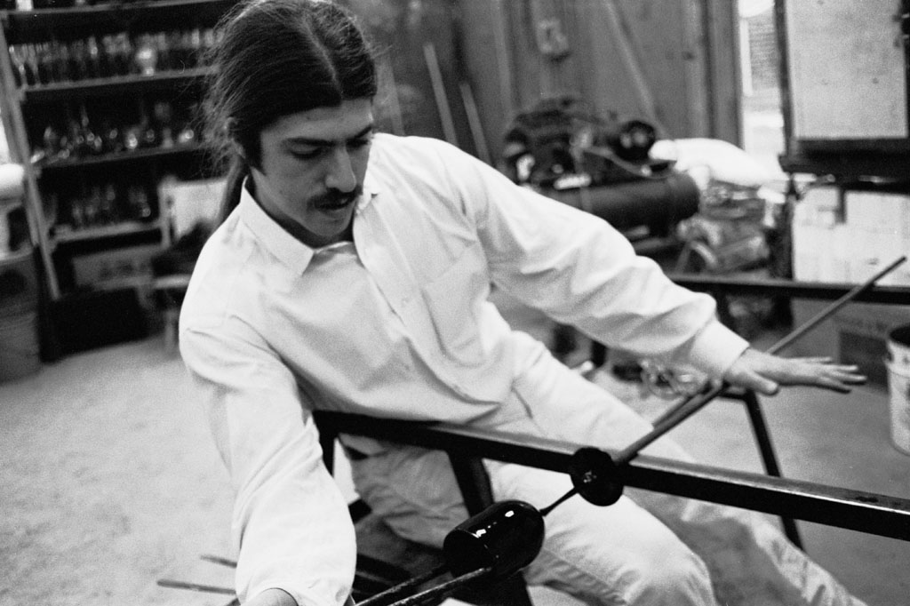 Josh working on a wine goblet in the long haired 1970's.