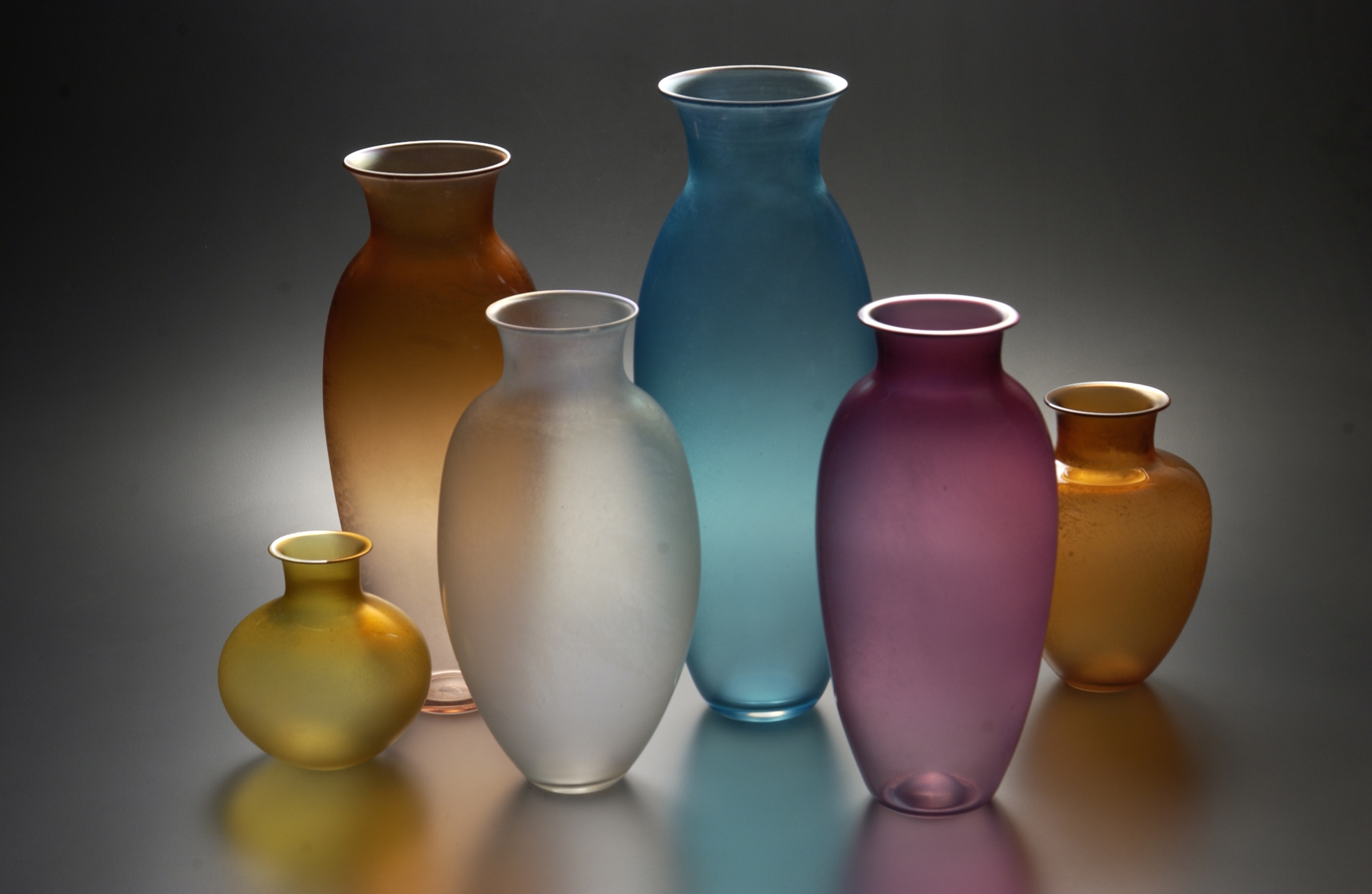 Iridescent Colored Vases