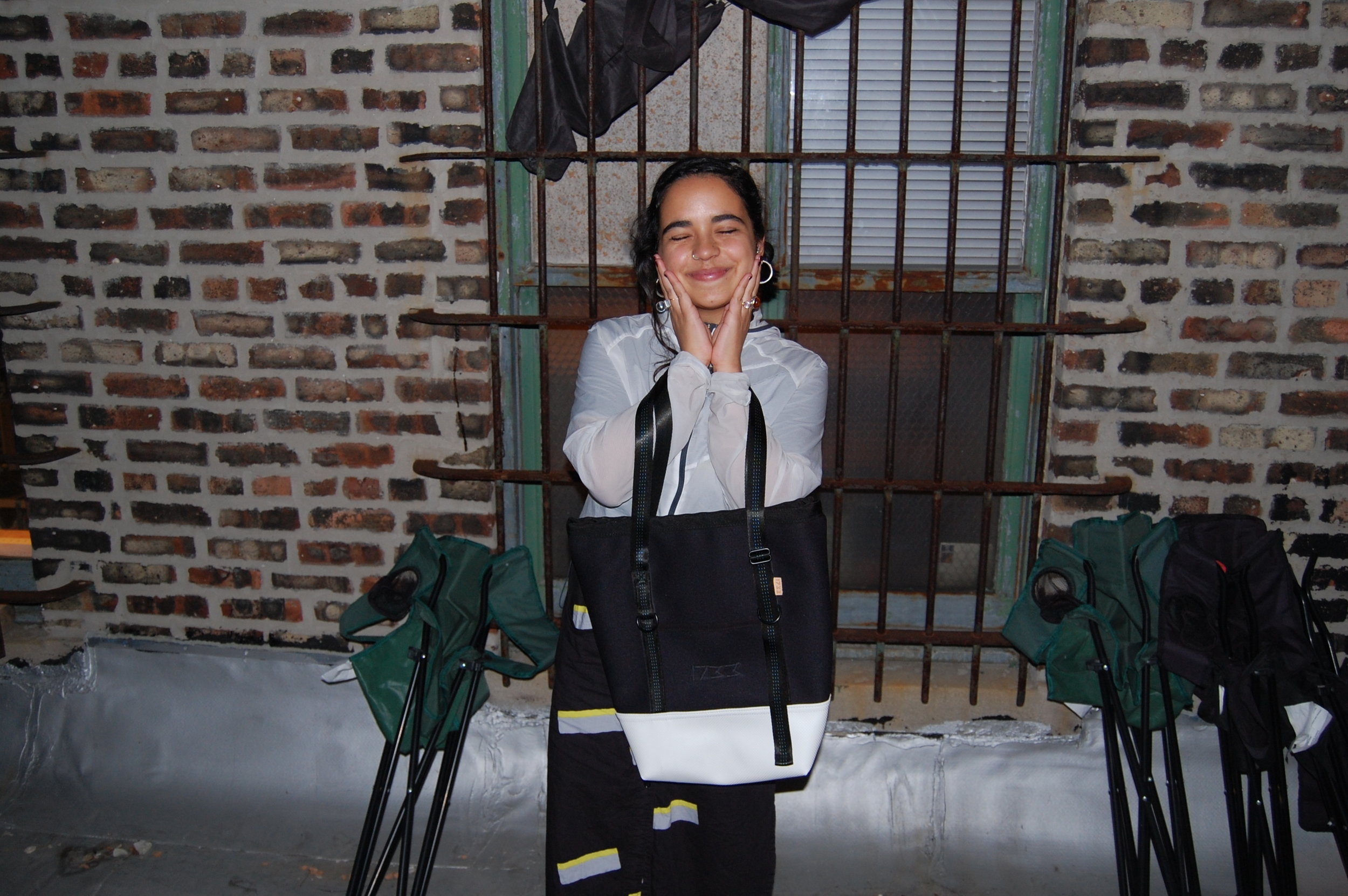 Paula with her neoprene and vinyl daily tote.