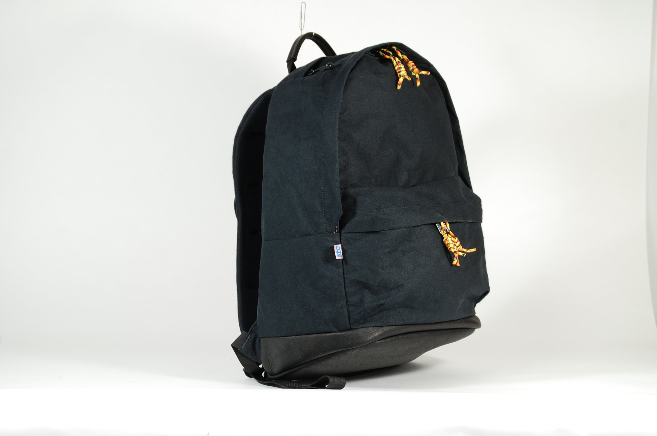 Bookbag in X10 canvas and leather with padded backpanel and neoprene laptop sleeve