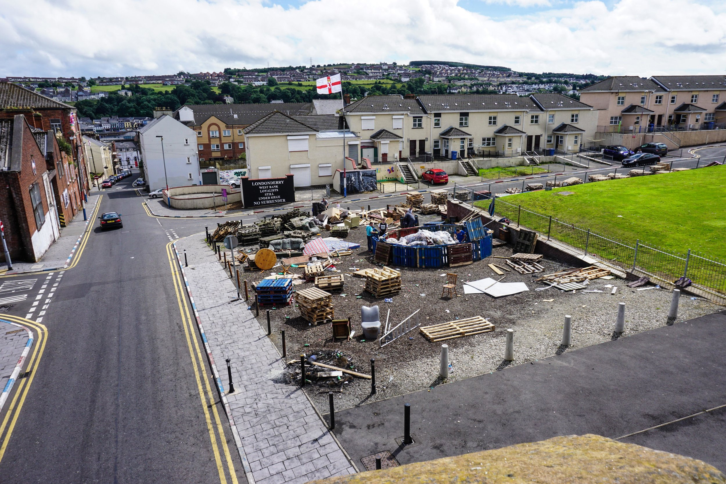 Pyre being built in Derry