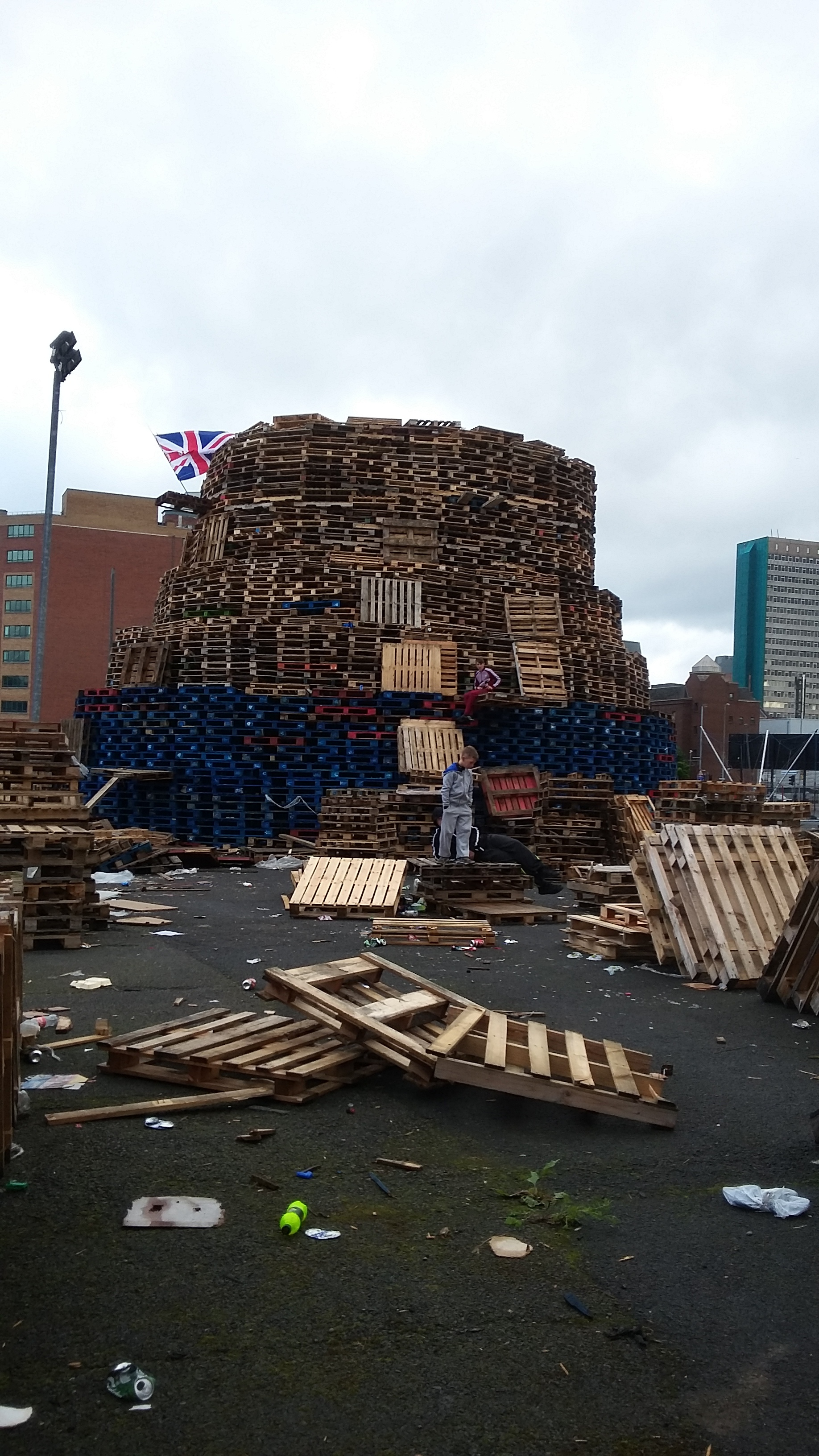 Pyre to burn for the Twelfth. Do you see the kid on there? This thing was huge! And 50 yards from our apartment!