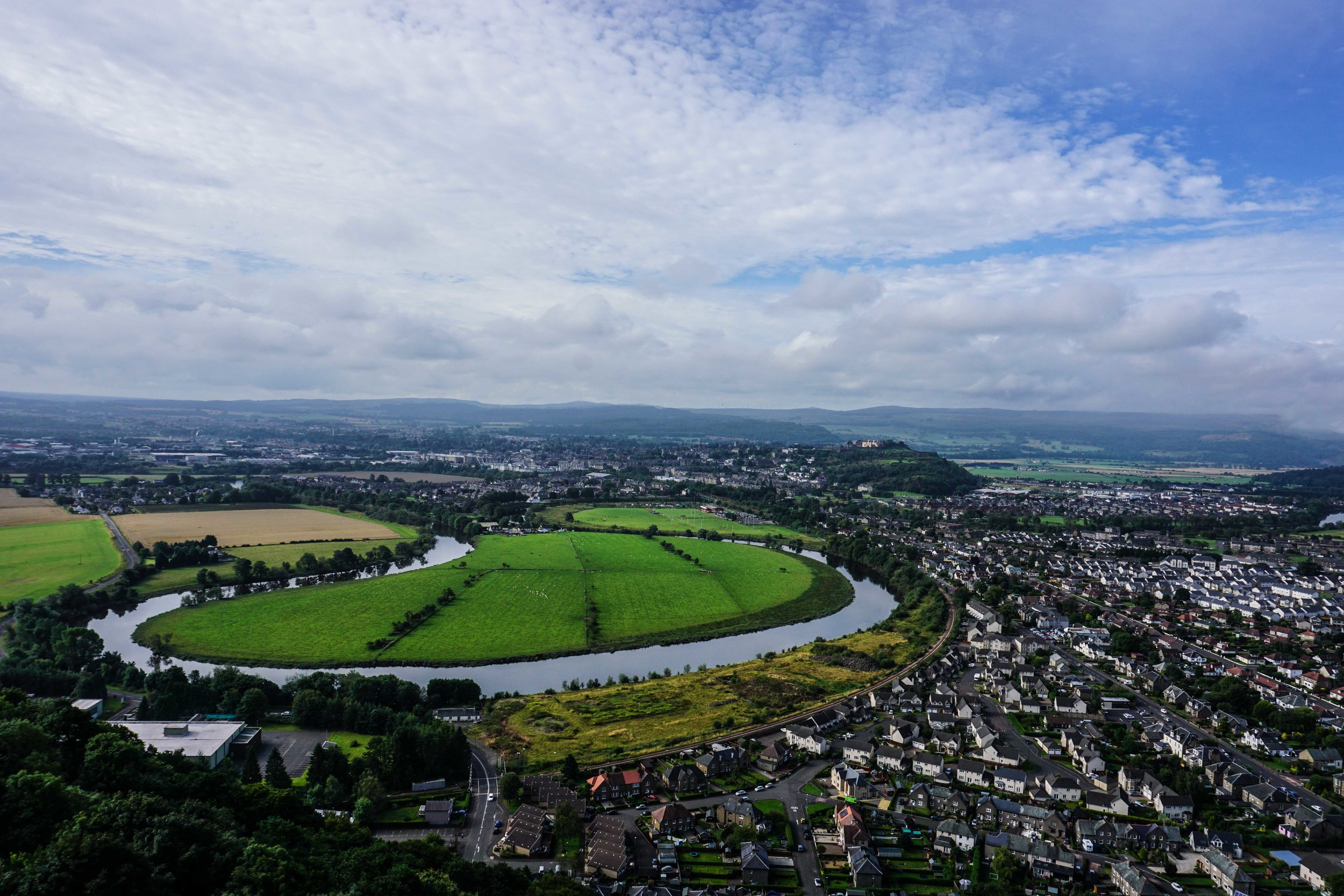 That inlet of grass is where William Wallace and his men trapped the English in the Battle of Stirling