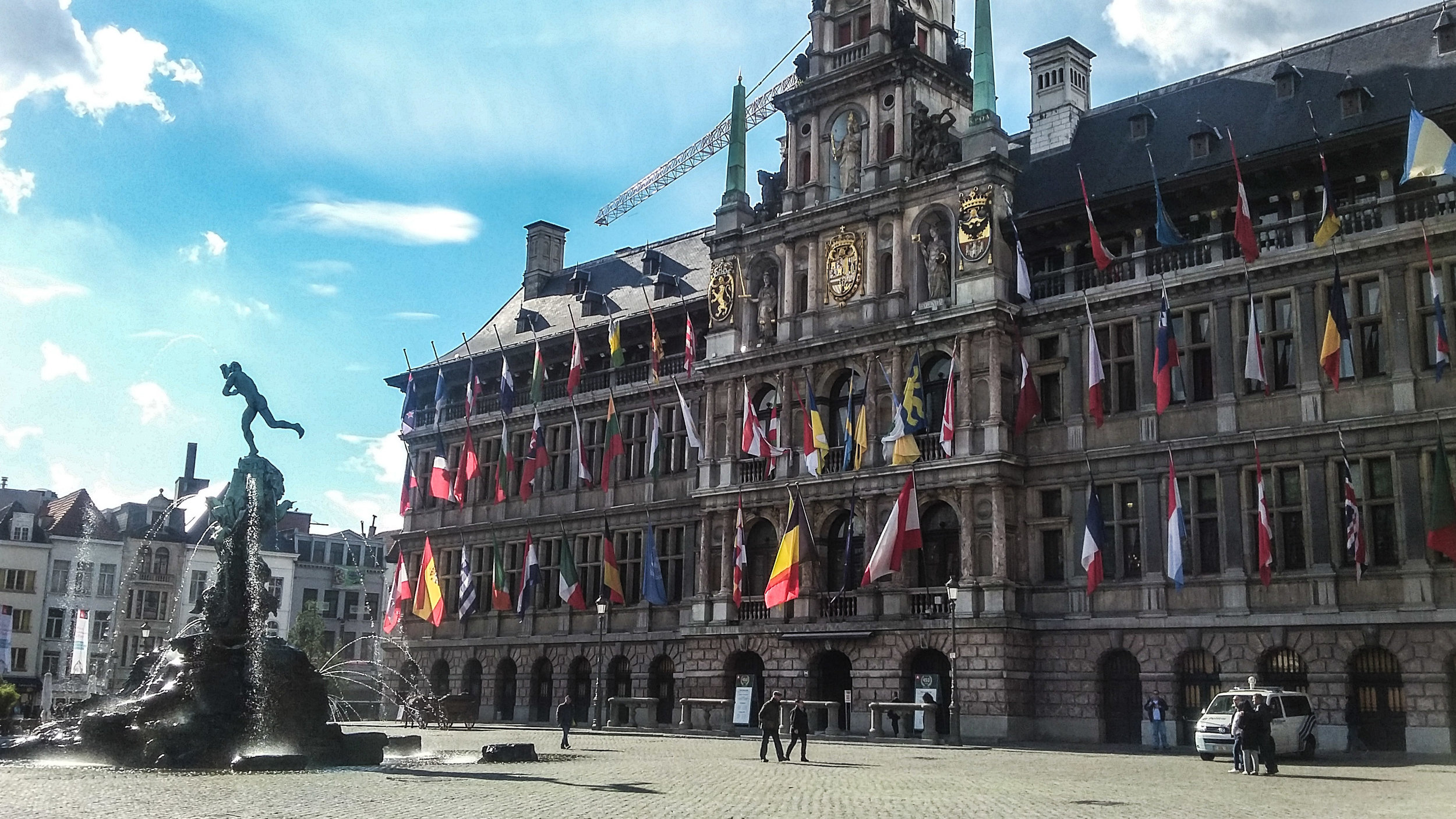 """Antwerpen means """"To Throw a Hand,"""" which stems from a local legend and this statue (he's literally throwing his hand)"""