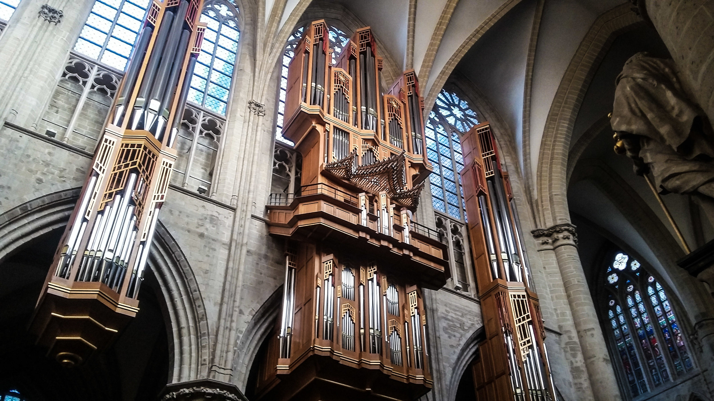 They were practicing the organ in St. Nicholas Church in Brussels