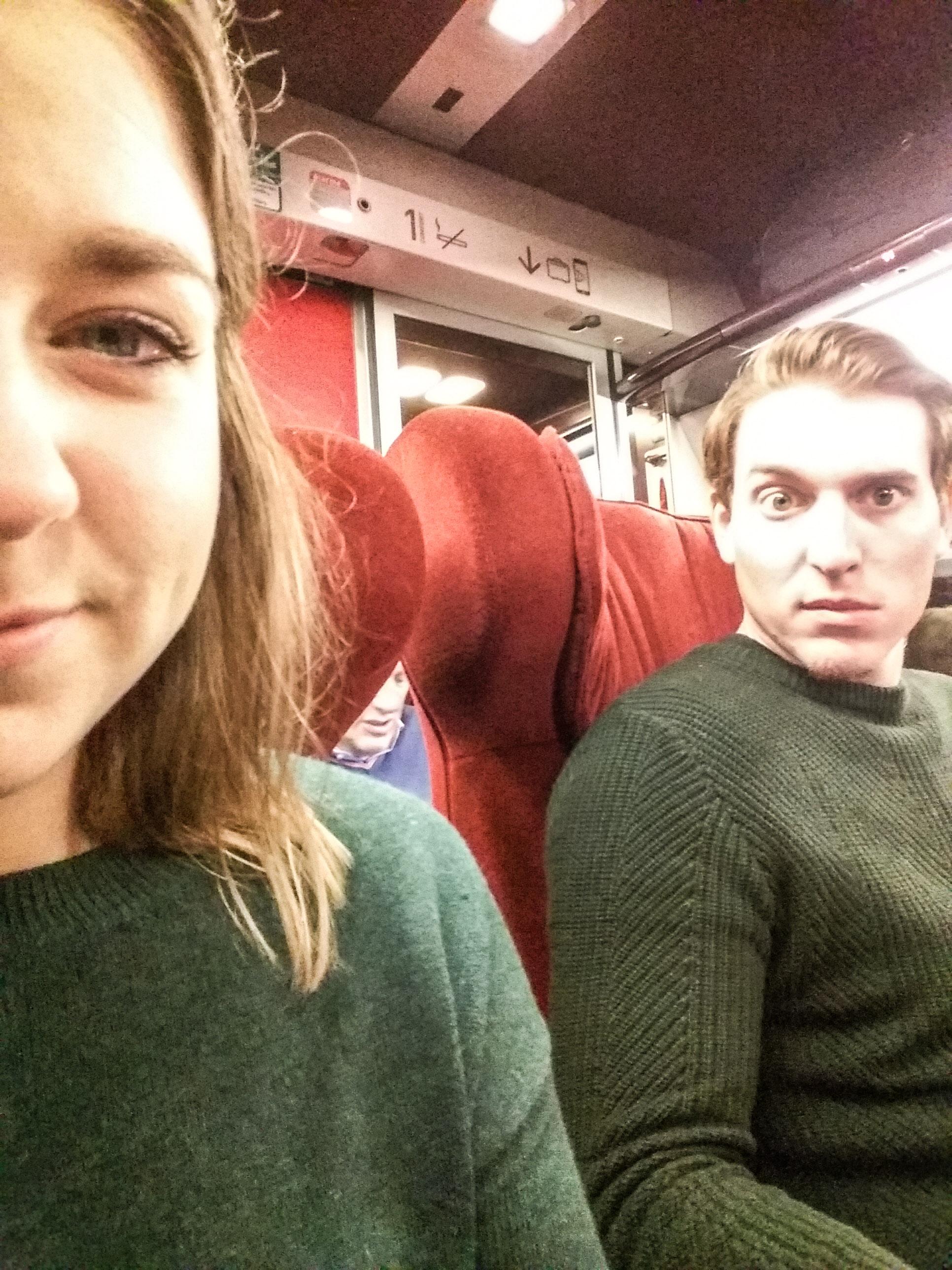 First class train ride - screaming children.