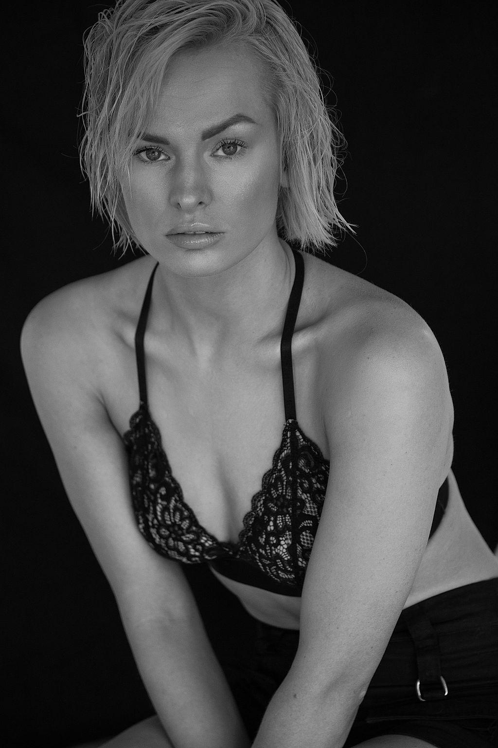 Black and white intimate portrait