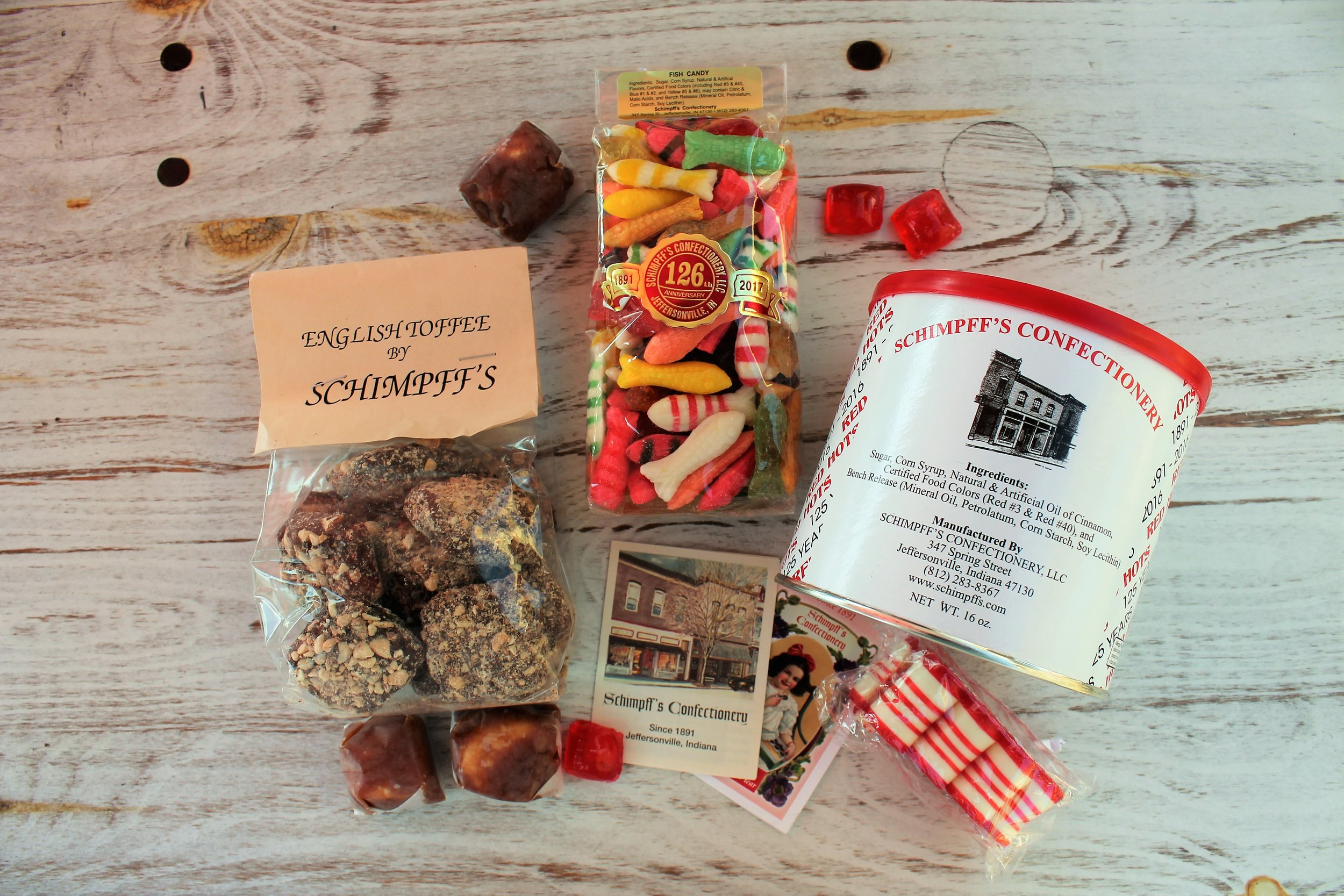 "Some of the classics from Schimpff's Confectionery - from left to right: Warren's favorite English Toffee, individually wrapped ""Modjeskas"", hard candy fish, drop roller cinnamon red hots, and Jill's favorite ribbon candy."