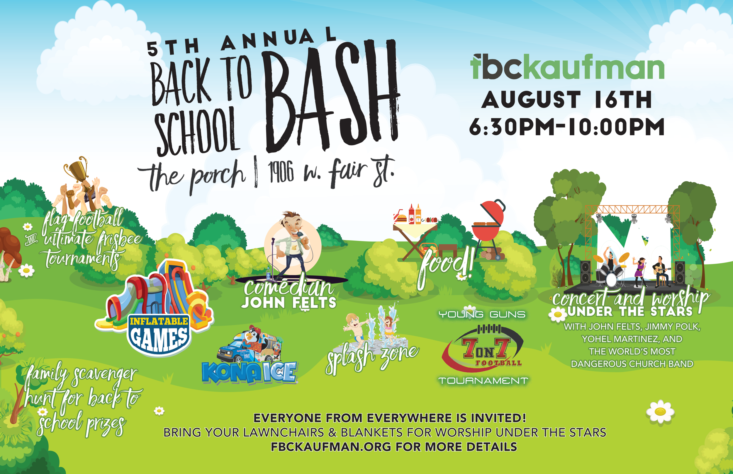 Come be a part of a growing Kaufman County tradition. The fifth annual Back-to-School Bash is sponsored by FBC Kaufman and we would like for you and your family to join the fun.  It's been an awesome summer, and just before it ends, we invite you to join us as we celebrate together one last time. This free event has something for most everyone. Food, games, sports, snow cones, music, comedy, and a free back school give-a-ways.Lots of your friends and neighbors from across central Kaufman County were at last years event and this is your invitation to come and join in the festivities.  Bring your beach chairs and blankets for this concert event at the High Meadow Stage.