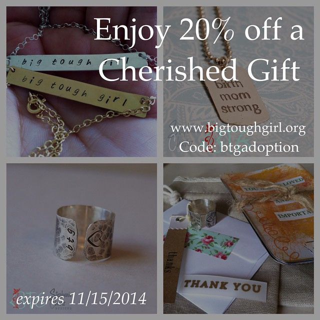 #btgadoption Day 8. Cherished Gift. I have received so many things over the years and they all came at the perfect time and they all had an impact in my healing! Are you a BTG? Yes! Do you know a BTG? Yes! Head on over to the shop and find something for yourself or someone you love that could use a reminder that they are a Big Tough Girl™ (no matter their circumstance)