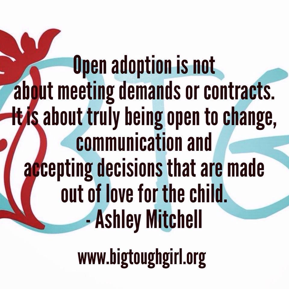 "#btgadoption 18. Promises. The biggest struggle in adoption is a healthy open relationship that works for all members of the triad. I want you to know that I truly believe that this relationship is possible, no matter where you are at, I believe it can happen if we are willing to drop the labels, stop fighting over the title of ""mother"", let our fears and insecurities go to rest and come together in the pure love for the child. These amazing children don't have to grow up with questions and void in their life. This is NOT a competition, it is NOT about mine or yours it is about THEM. Have integrity in promises made, it should be important enough to make time, it is the most important thing you do today in the life of those waiting!! Open adoption is not about meeting demands or contracts. It is about truly being open to change, communication and accepting decisions that are made out of love for the child."