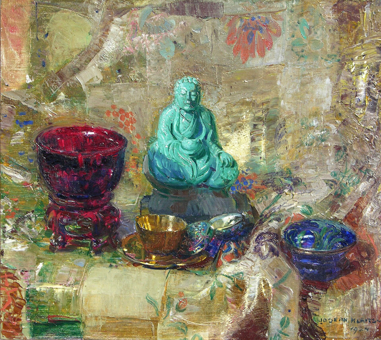 The Turquoise Buddha   / Oil on Canvas, 18 x 20 in. / Available at George Stern Fine Arts