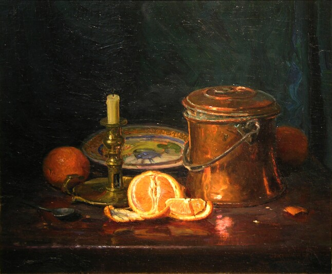 Still Life with Oranges   / Oil on Canvas, 20 x 24 in. / Private Collection