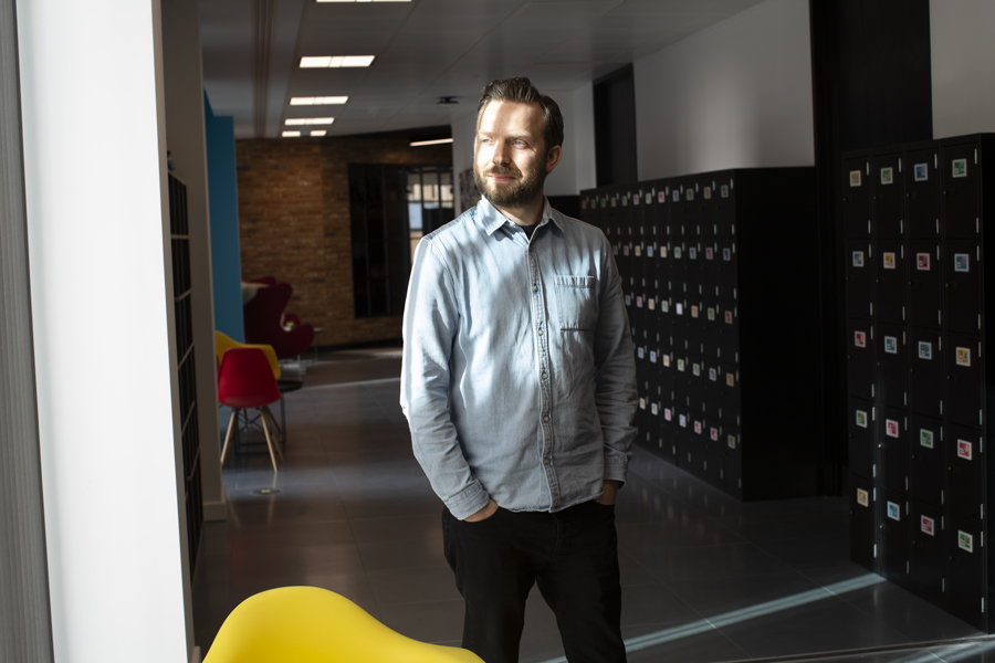 Alistair at the GiffGaff offices in Uxbridge