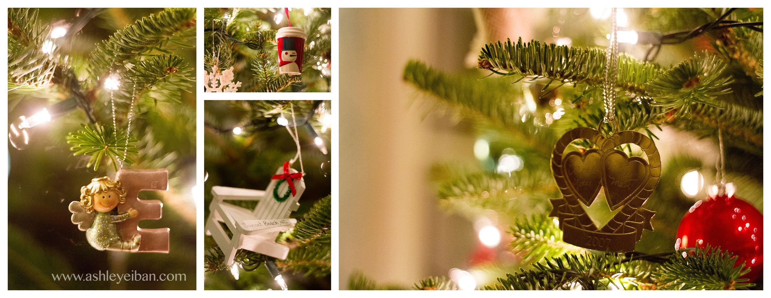Some of our special ornaments! On the left- Emmie's very first ornament, Starbucks Mug- where Mike and I first met. The Sunset Beach Vacation Chair- and on the right- the ornament Mike proposed to me with!!