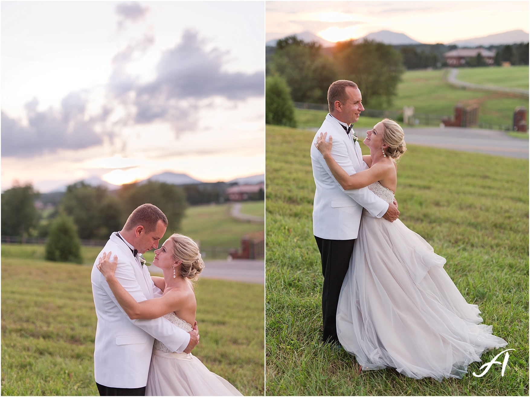 Gorgeous bride and groom sunset photos at the Trivium Estate in Forest, Virginia || Ashley Eiban Photography