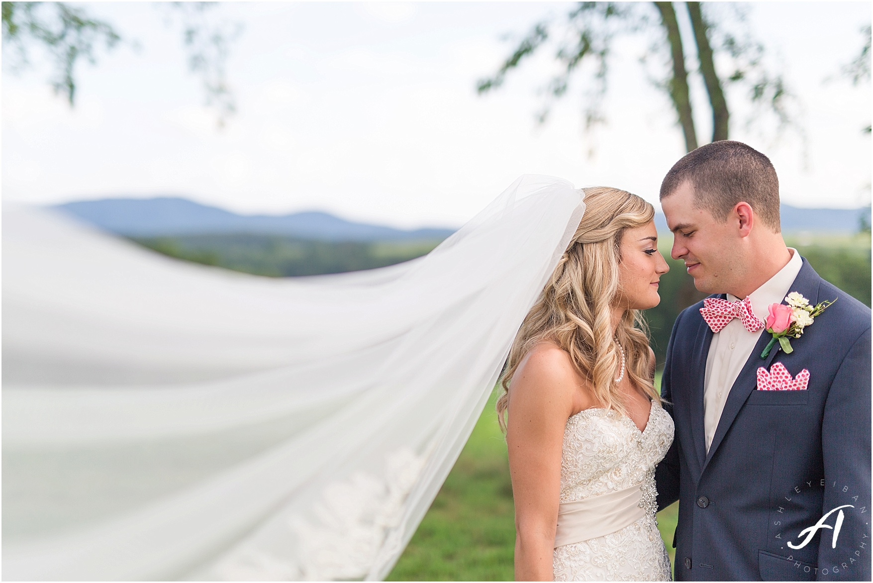 navy and coral mountain view Wedding at The Glen at The Boxtree Lodge || Braeloch Wedding in Vinton, Virginia || Ashley Eiban Photography || www.ashleyeiban.com