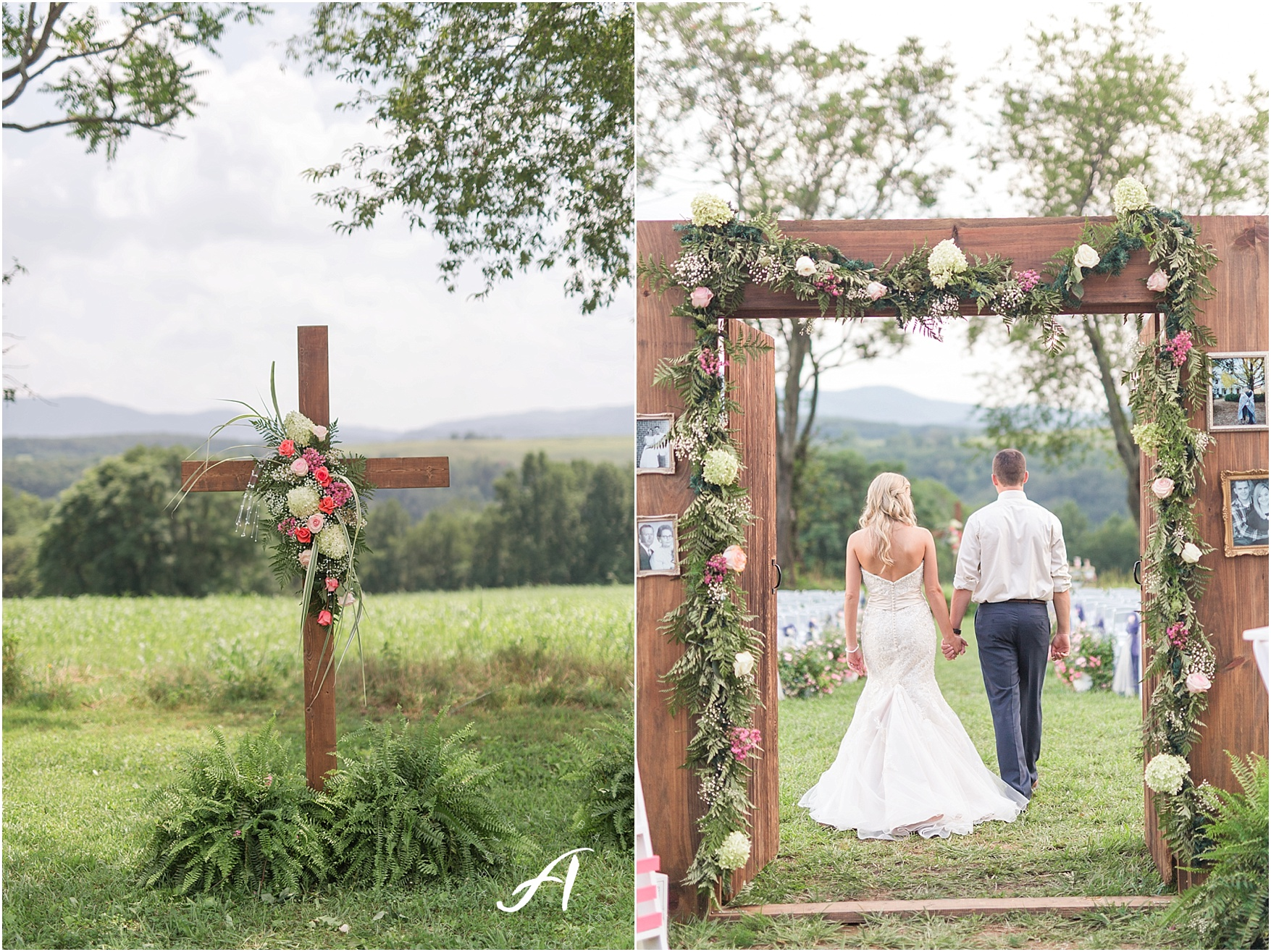 navy and coral mountain view Wedding at The Glen at The Boxtree Lodge    Braeloch Wedding in Vinton, Virginia    Ashley Eiban Photography    www.ashleyeiban.com