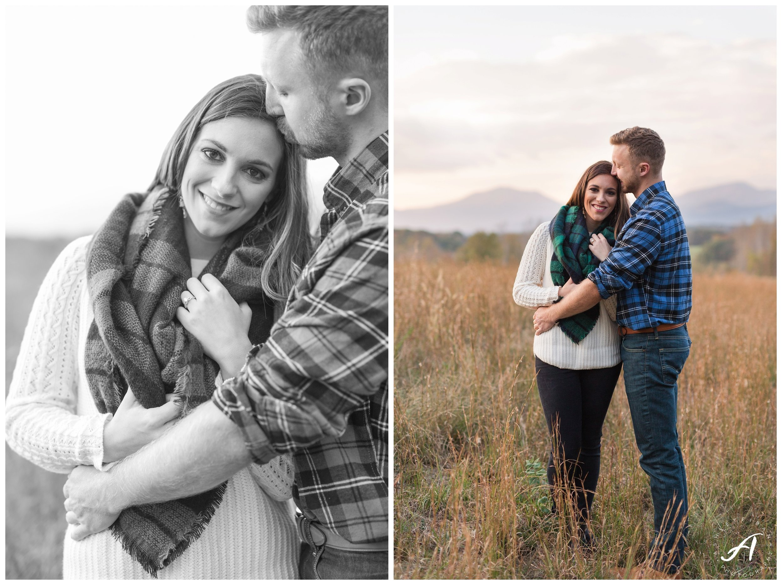 Mountain view fall engagement session at Sierra Vista in Lynchburg, Virginia || www.ashleyeiban.com