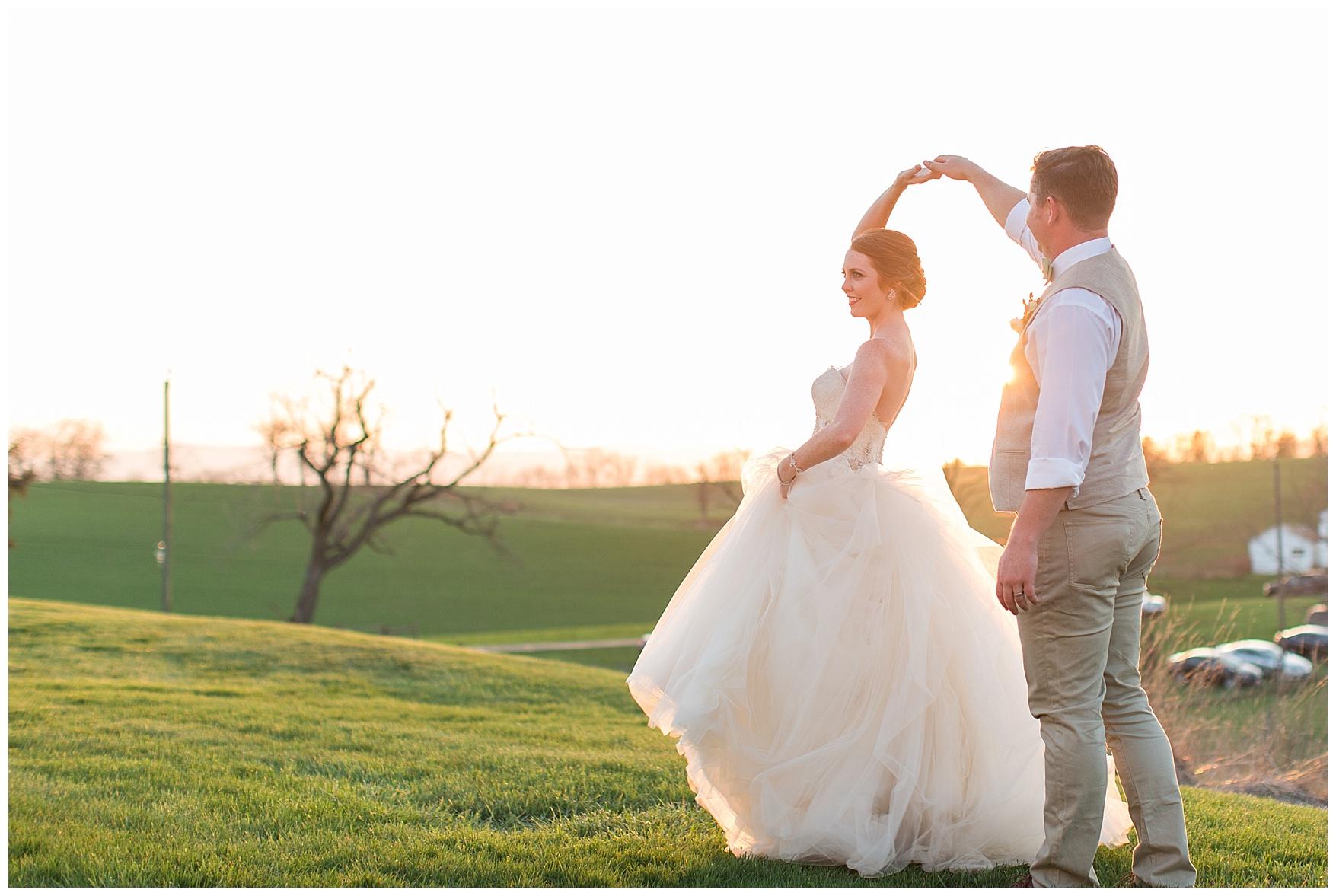 Sunset Photos atOn the Sunny Slope Farm Wedding || Harrisonburg, Virginia Wedding Photographer || Lynchburg VA Photographer