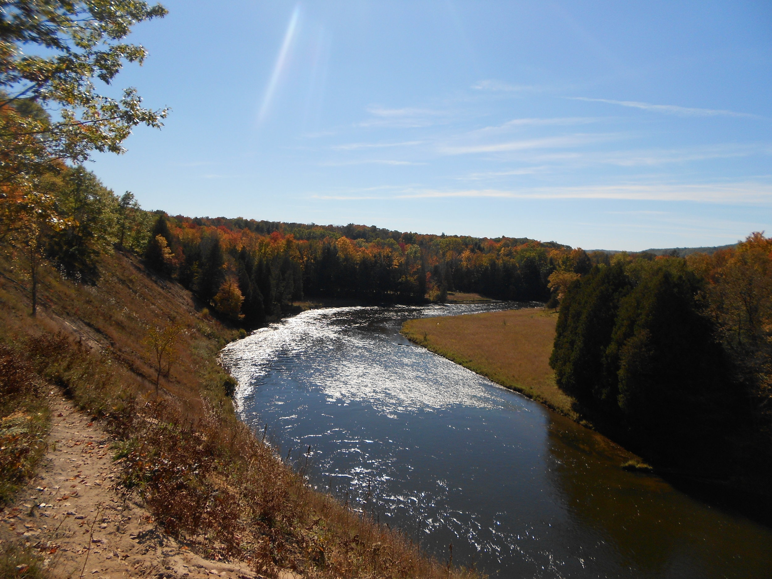 Manistee River Trail, Manistee National Forest   Among one of the most popular trails in the Manistee, this 24 miler is split by the Manistee River half and a small stretch of the North Country Trail, a trail that starts up in the New York/Pennsylvania border and ends all way up in North Dakota. Don't worry, we'll only ask a few miles of you.