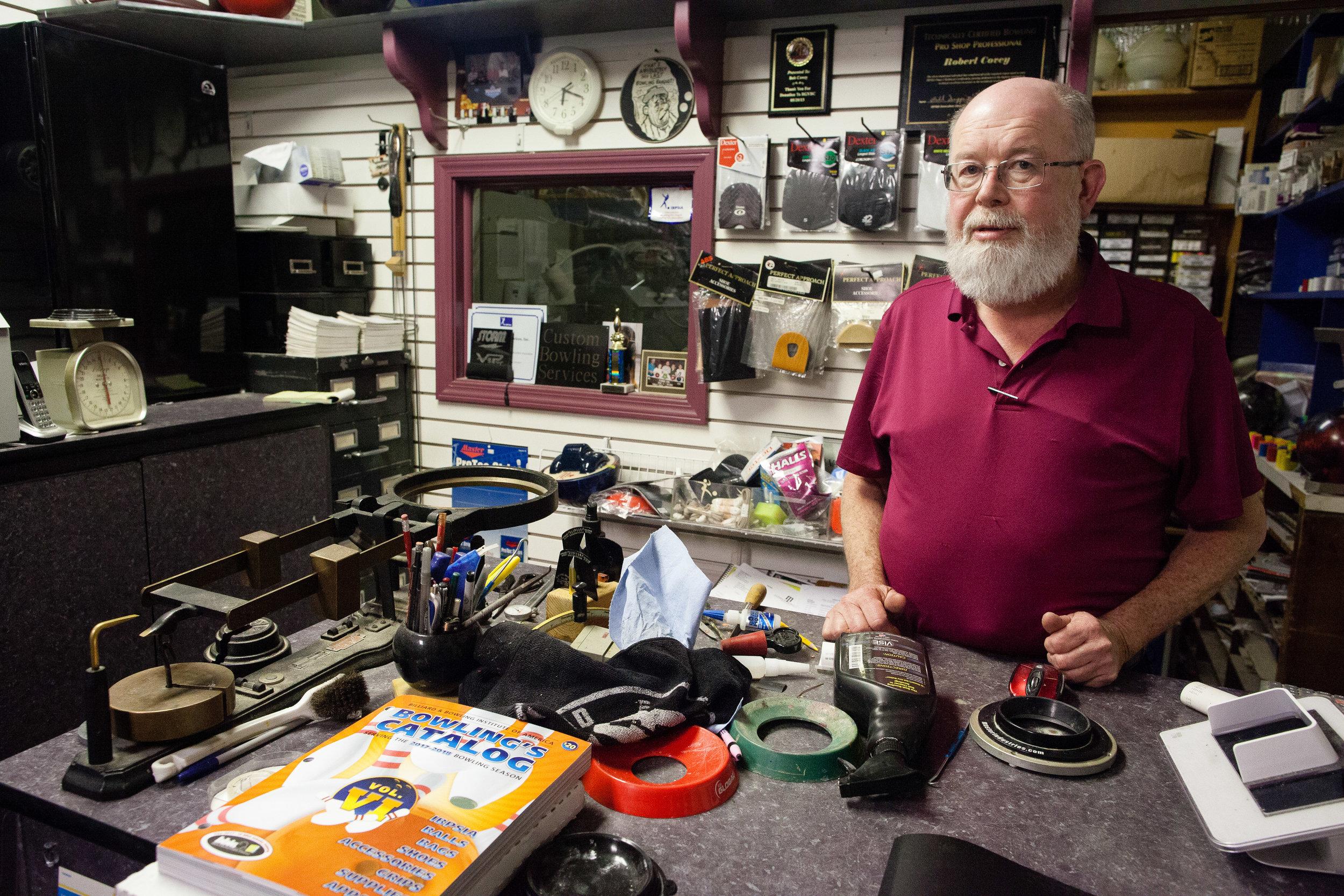 Bob Covey in his Pro Shop, Ward Parkway Lanes, Kansas City, MO