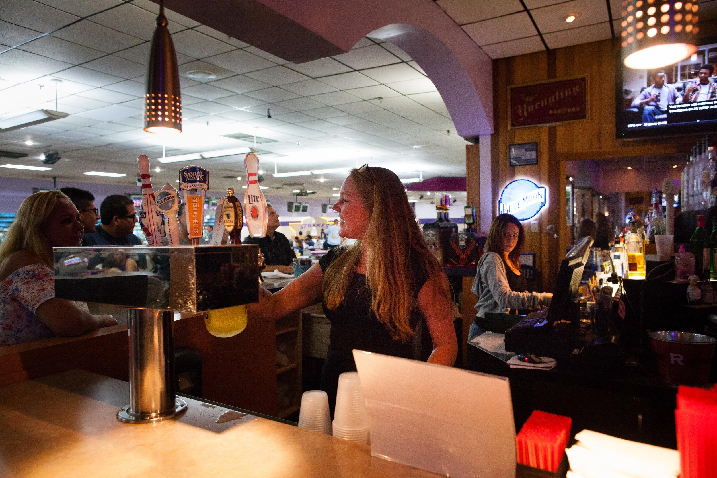 Amanda and Sarah Tending Bar, Strikes at Boca