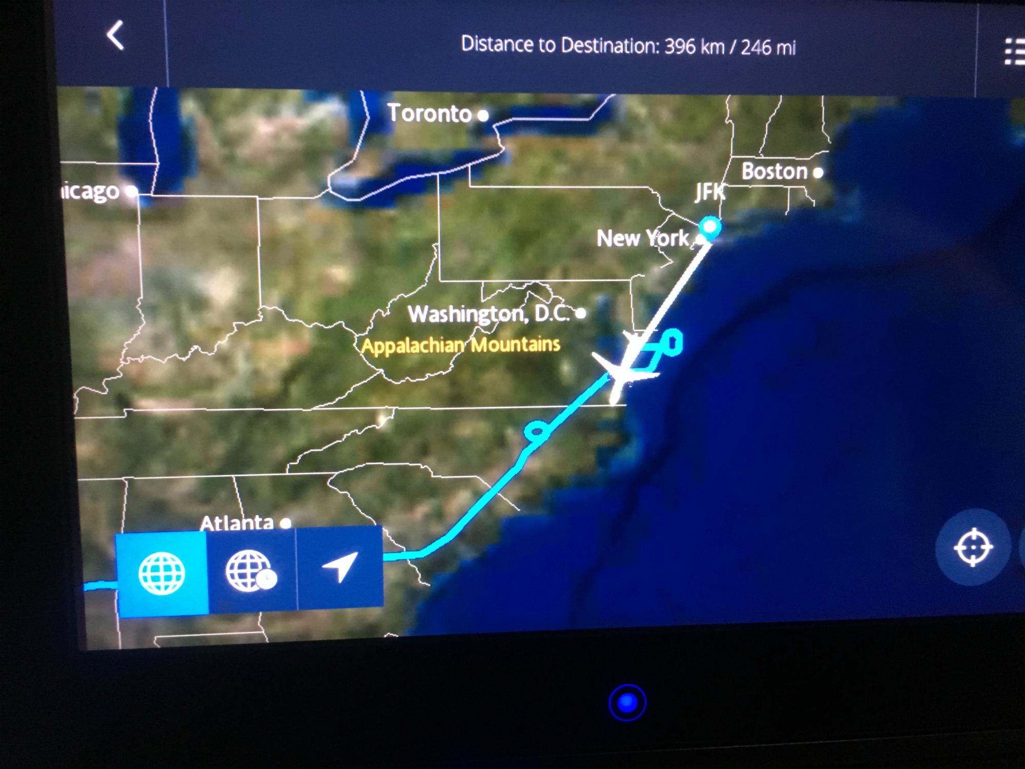 Hmmm, things aren't looking good. Our pilot's not drunk. He's been flying in circles for a few hours here and there, and now we're being diverted down to Norfolk, VA to gas up. Bad weather in New York. Very bad weather. Looks like we won't make our connection OR the two later flights out of JFK.